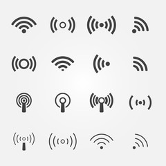 Wireless icons set - vector WiFi symbols