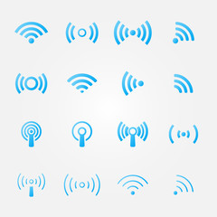 Wireless icons set - vector blue WiFi symbols