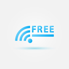 Free Wifi Sign - blue vector wireless icon