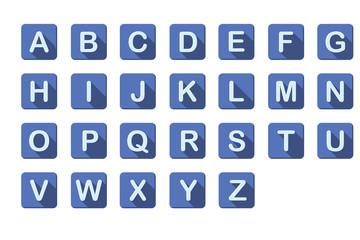알파벳 버튼 : 플랫 디자인 형식