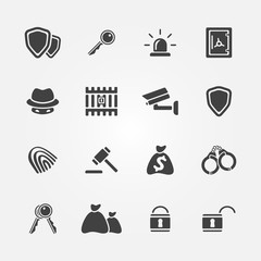 Security icons - vector protection symbols set in black color