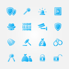 Blue security vector icons - vector simple police symbols set