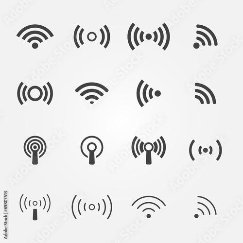 Wireless icons set - vector WiFi symbols - 69807513