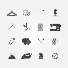 Set of 16 sewing tools icons - vector sewing equipment