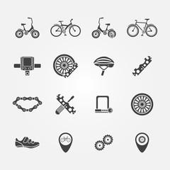 Bicycle icon vector set - bicycle symbols