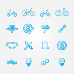 Blue bicycle icon vector set - bicycle symbols