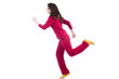 Woman in red costume doing exercises on white
