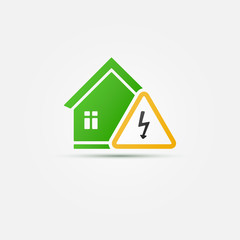 Green house electricity abstract vector icon