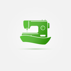 Sewing machine green symbol - vector sewing icon