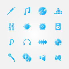 Set of audio and music icons - vector sound symbols
