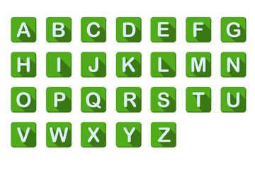 알파벳 버튼 : 녹색 플랫 디자인 형식