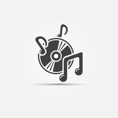 Music icon - black sound symbol, vector illustration