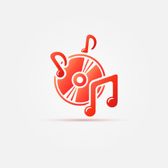 Hot music icon - red sound symbol, vector illustration