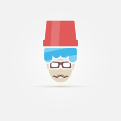Ice bucket challenge and hipster with moustache vector icon