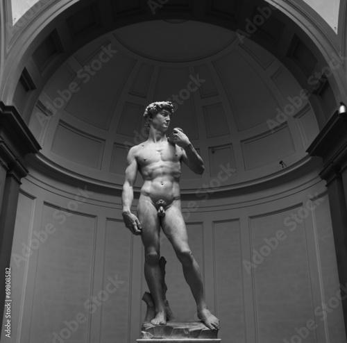 Canvas Artistiek mon. David di Michelangelo Buonarroti in Bianco e Nero