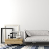 Fototapety Modern leather sofa and wooden coffee table