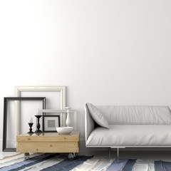 Modern leather sofa and wooden coffee table