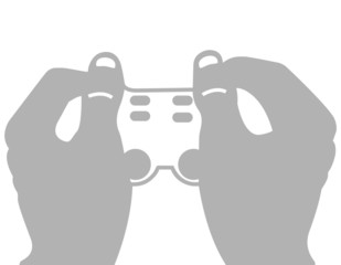 Vector two hands holding a video game joystick