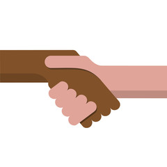 Vector sign handshake, no apartheid. Flat design
