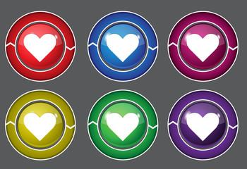 Heart Circular Colorful Vector Web Button Icon Set