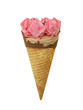 Strawberry ice cream in waffle cone isolate on white background