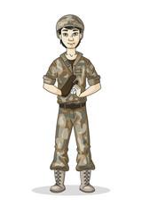 Cartoon soldier in camouflage