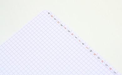cahier,papier,abécédaire,isolé,fond blanc