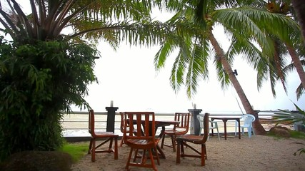 Outside restaurant at the beach in rain time. Koh Samui Nathon