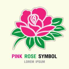 Pink rose symbol icon. vector illustration