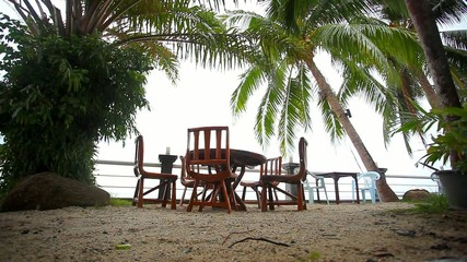 Outside restaurant at the beach in rain time. Koh Samui Nathon