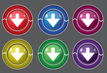 Down Key Circular Vector Colorful Web Icon Set Button