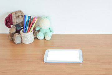 Digital tablet pc on table