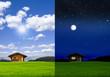 canvas print picture - Blockhütte bei Tag und bei Nacht