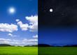 canvas print picture - Landschaft bei Tag und bei Nacht