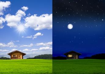 Blockhütte bei Tag und bei Nacht