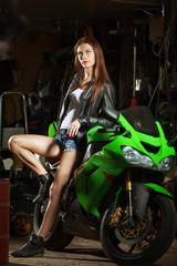 Woman and sport bike