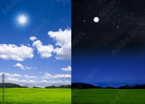 canvas print picture Landschaft bei Tag und bei Nacht
