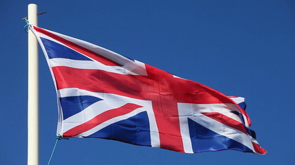 British flag waving in the wind.
