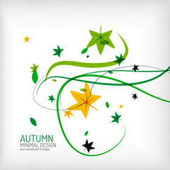 Seasonal autumn greeting card, minimal design