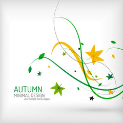 Seasonal autumn greeting card, minimal design