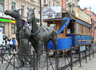 Monument to the horse tram - to the first tram. St. Petersburg