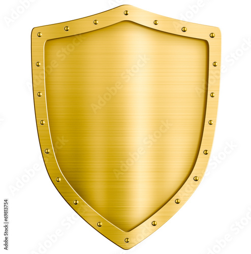 Leinwanddruck Bild golden metal shield isolated on white