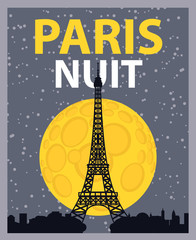 banner with Paris, Eiffel Tower at night under the moon