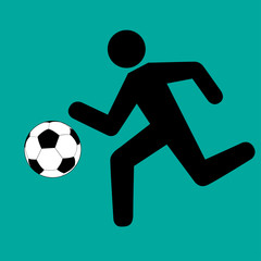 Running footballer with soccer ball