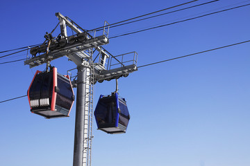 Two ski lift cable cars at ski resort
