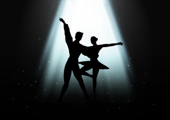 Silhouette Illustration of a couple ballet dancing
