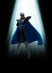 A mysterious superhero under the light