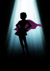 A mysterious superheroine under the light