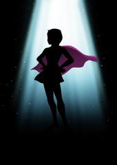 A mysterious superheroine under the light