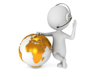 3d white man stand with earth planet globe